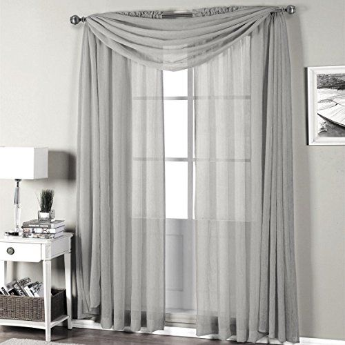 Qutain Linen Solid Viole Sheer Curtain Window Panel Drape With