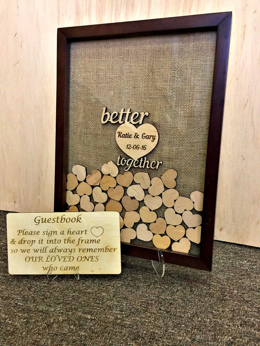 Wedding Guest Book Alternative 3d Drop Top Frame Hearts Rustic