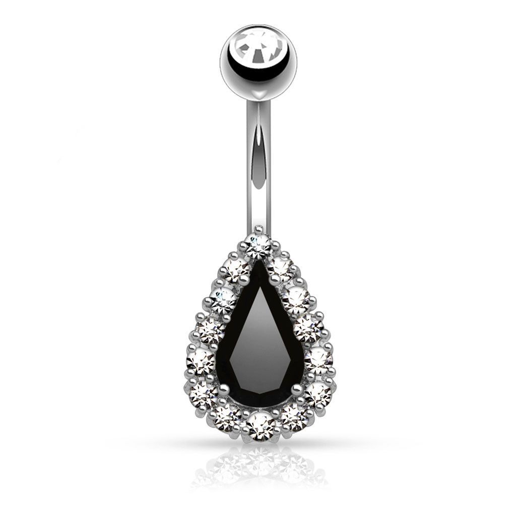 Belly Button Ring Triple CZ Paved around Large CZ Drops Surgical Steel 14 gauge