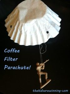 Quick and Easy Coffee Filter Parachute. Such a cute idea ...
