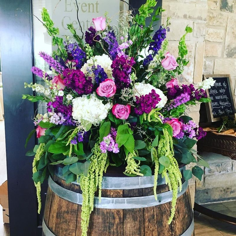 Flower Arrangement For Church Wedding: Wedding Flowers- Wedding Decor- Wine Barrel- Winery
