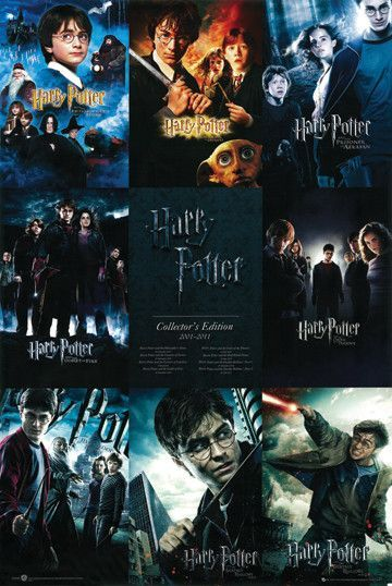 Harry Potter Collection Poster Etriggerz Wall Decor Accents Furniture And More Www Harry Potter All Movies Harry Potter Collection Harry Potter Films