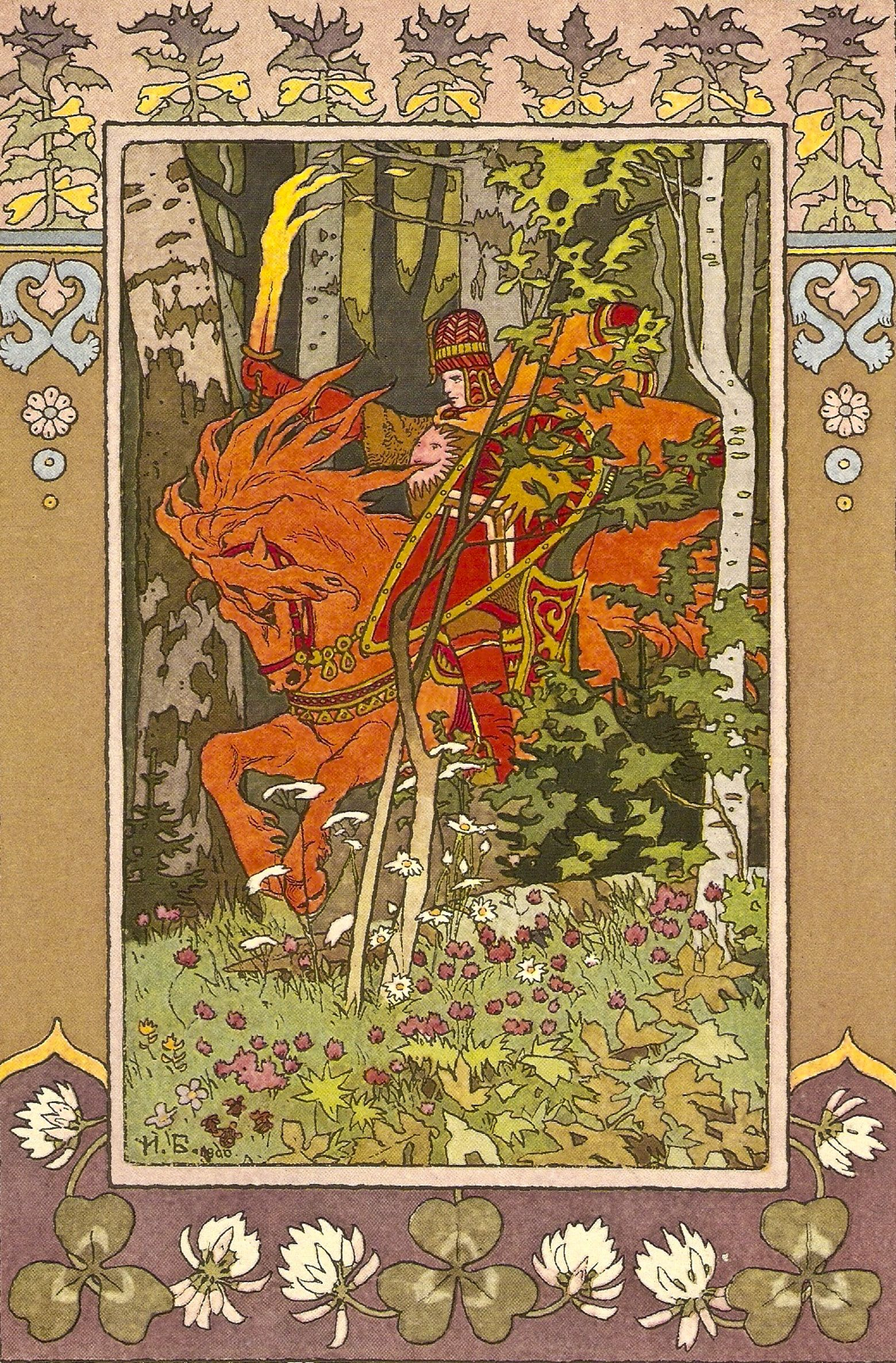 Jugendstil Malerei Red Rider Illustration For The Fairy Tale Kunst
