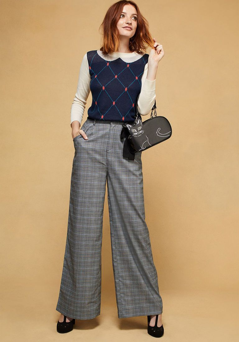 3188ac7c5d Vintage Wide Leg Pants 1920s to 1950s History High-Waisted Wide-Leg Trousers  in Grey Plaid $79.99 AT vintagedancer.com