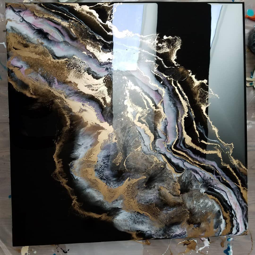 Black gold geode art gorgeous resin artwork acrylic resin acrylic art
