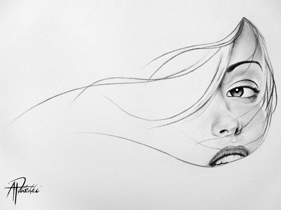 Line Drawing Face Woman : The woman behind curtain by pitch kee viantart on