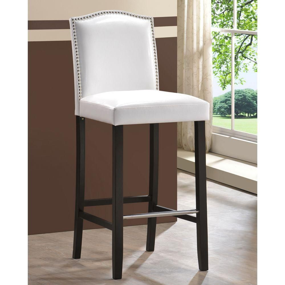 Libra Modern Faux Leather Bar Stool with Nail Head Trim in White 2 Pack
