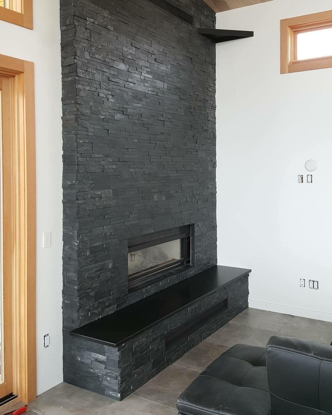 Black Ledgestone Thin Veneer Paneled Fireplace Valhalla