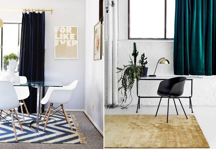 Le velours matière tendance. rideaux en velours verts ou bleu