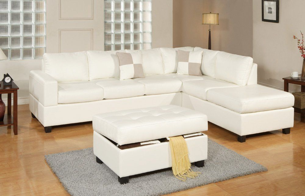 Sacramento Cream Leather Sectional Sofa With Right Facing Chaise