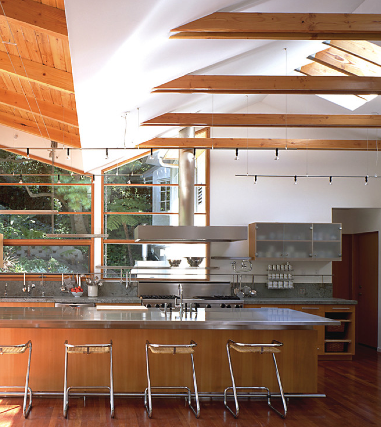 Modern Industrial Kitchen Design: Cathedral Ceiling With Wood Collar Ties