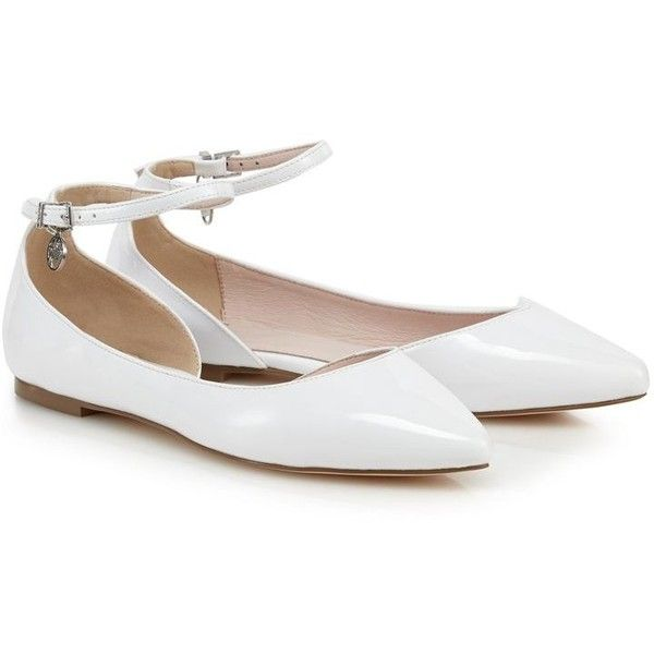 Faith White pointed flat shoes