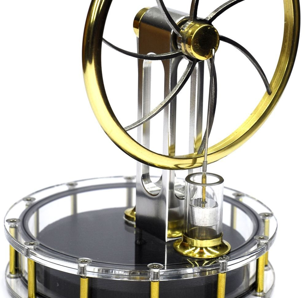 Details about Hot Air Stirling Engine No Steam 2 Flywheels