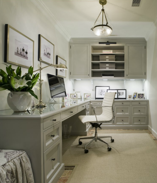 Gray Office With L Shaped Desk Beveled Top White Chair Built In Cabinets Glossy Cabinet Moldings Polished Nickel