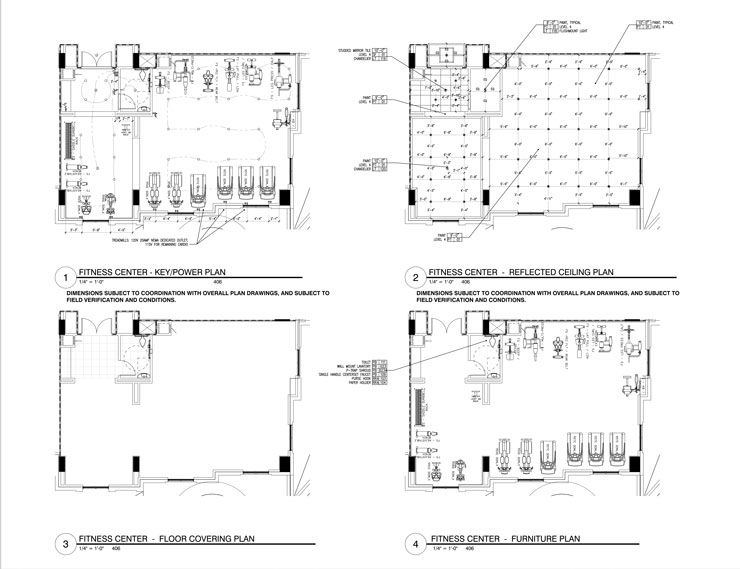construction drawing with floor plan, furniture plan, reflected ...
