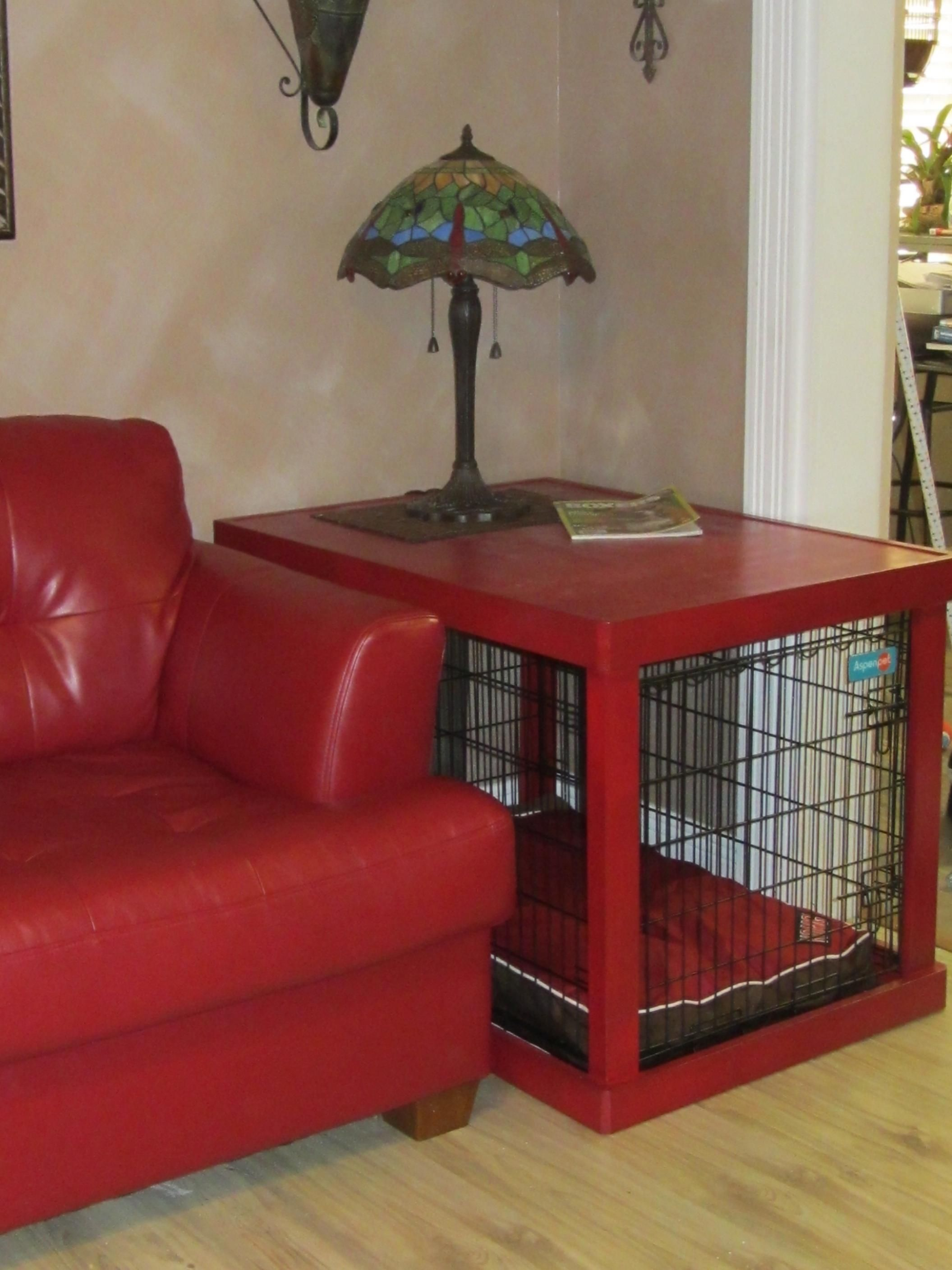 "A great way to ""hide"" the dog crate and bland it into your decor"