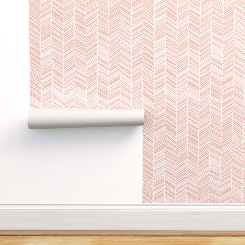 Free 2 Day Shipping Buy Peel And Stick Removable Wallpaper Herringbone Peach Pink Arrow Past Herringbone Wallpaper Removable Wallpaper Self Adhesive Wallpaper