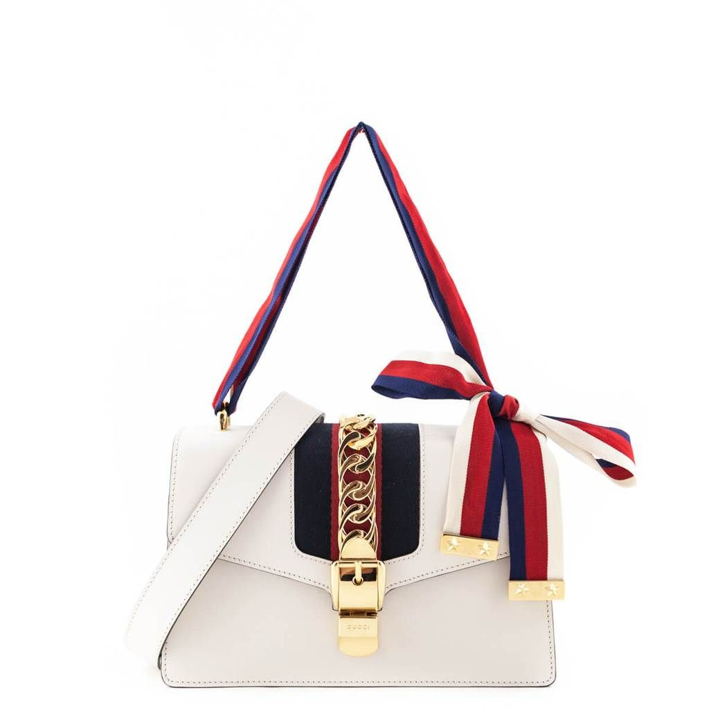 Gucci Small White Sylvie Shoulder Bag Love That Bag Preowned Authentic Designer Handbags 2550cad Bags Purses And Handbags Classic Handbags