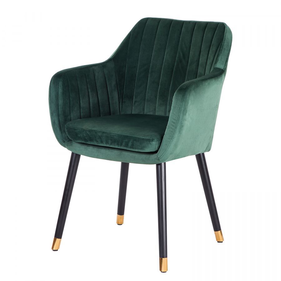 Chaise Avec Accoudoirs Leezy G Chene Massif Velours Chaise