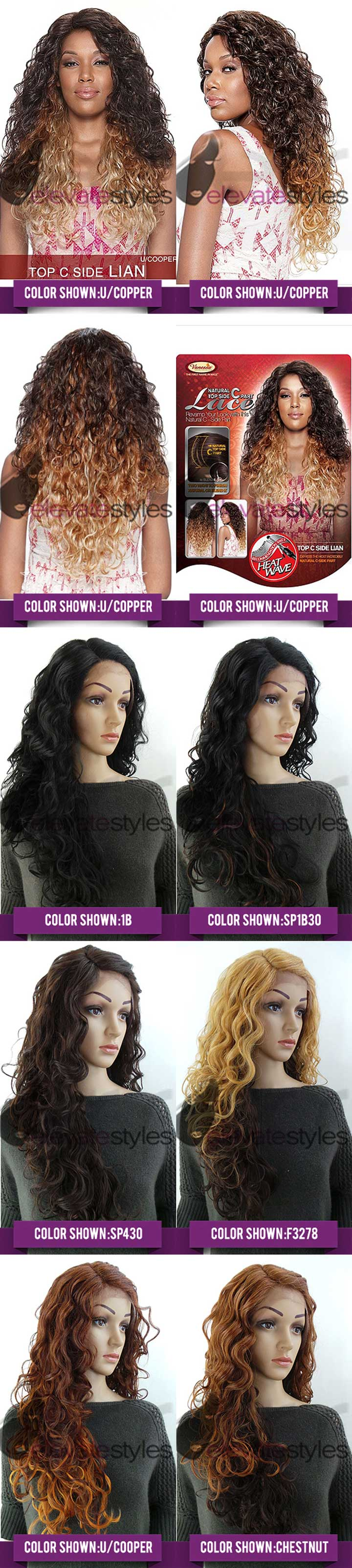Vanessa synthetic lace part wig top c side lian sew in weave