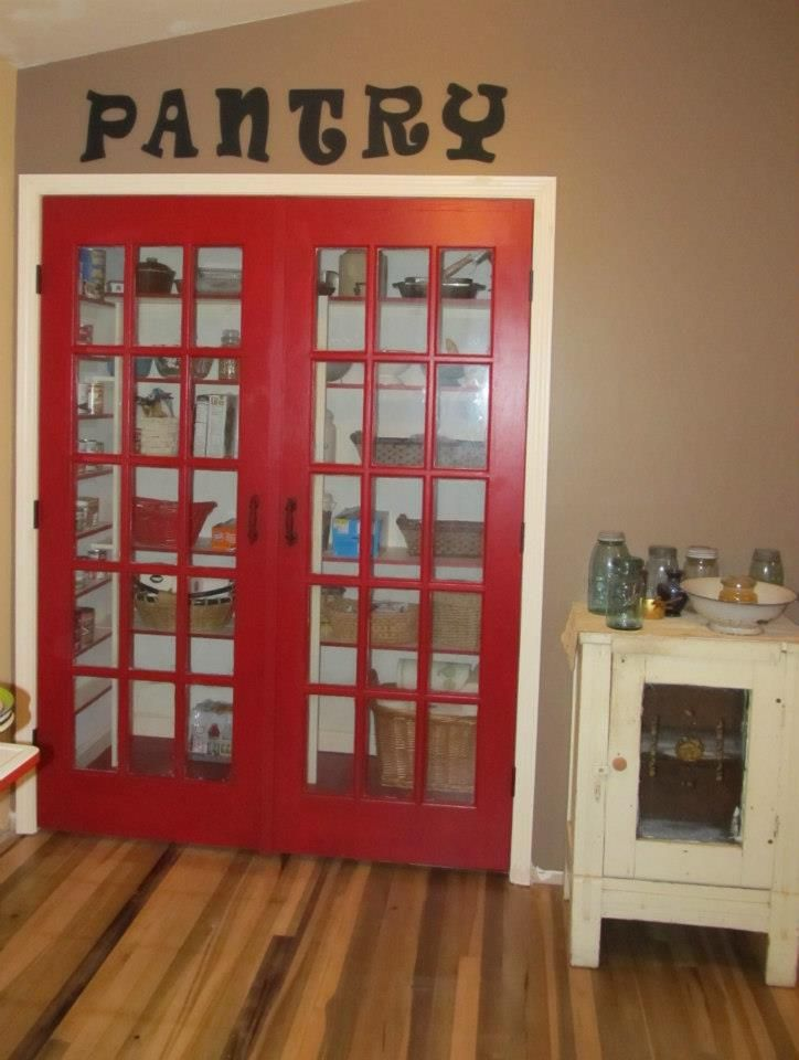 My Kitchen Remodel Nook Turned Walk In Pantry With Repurposed And Reclaimed 1950 S Red Vintage French P Vintage Doors Repurposed Doors Repurposed Pantry Door