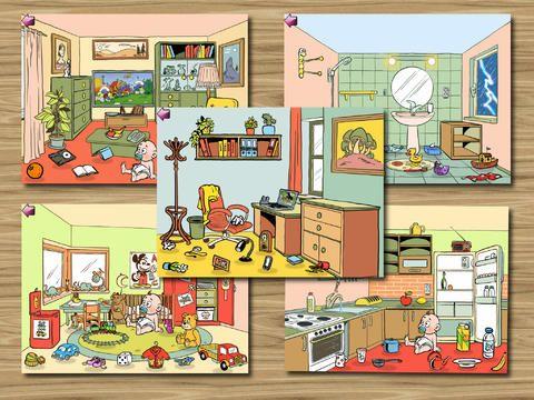 Pedro limpia la casa, app para trabajar vocabulario de 0 a 4 años