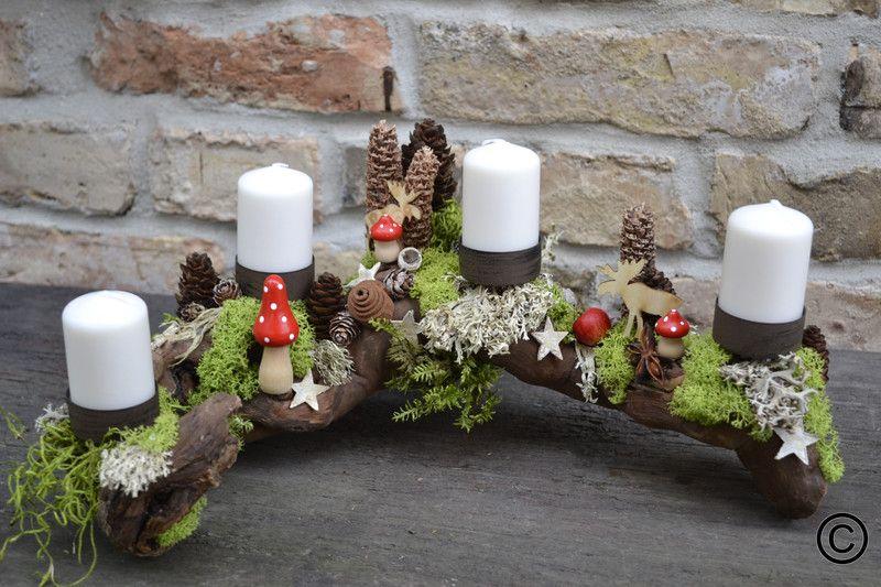 Adventskranz - Adventsgesteck-Auf Futtersuche-2 - ein Designerstück von Moneria bei DaWanda
