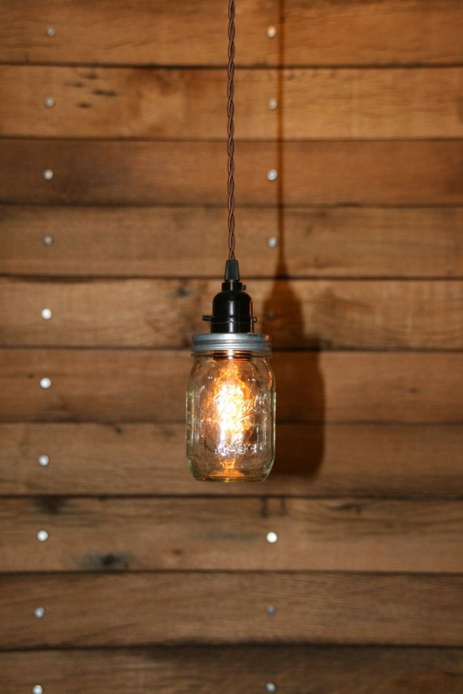 Hanging lights using wooden spools single canning jar lamp in ball jar pendant light mason jar light hanging mason jar hanging pendant light clear pint swag light by industrialrewind on easyde with red aloadofball Image collections