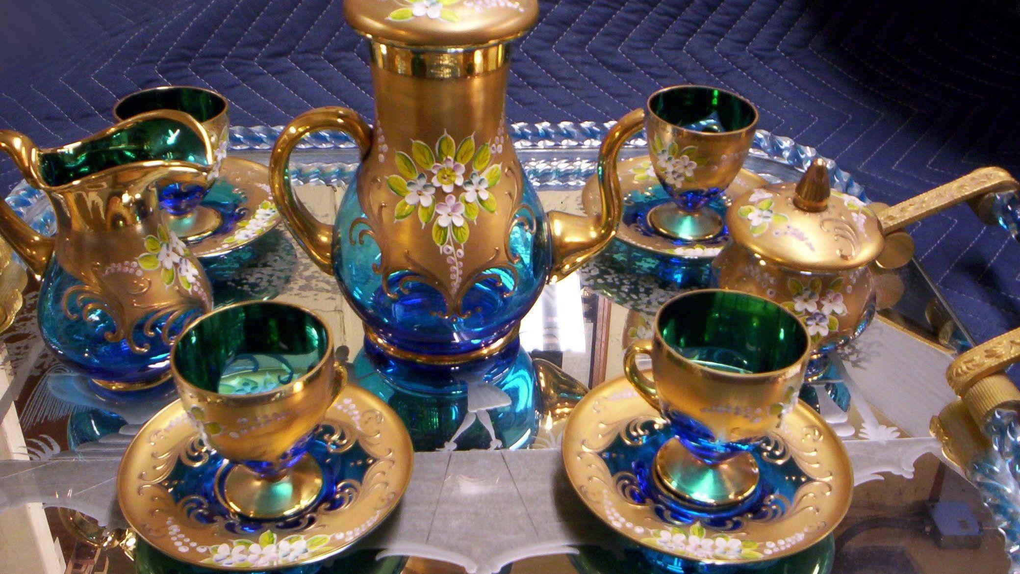 Vintage Cobalt Blue Venetian Art Glass Tea Set Glass Tea Set Tea Set Glass Tea Cups