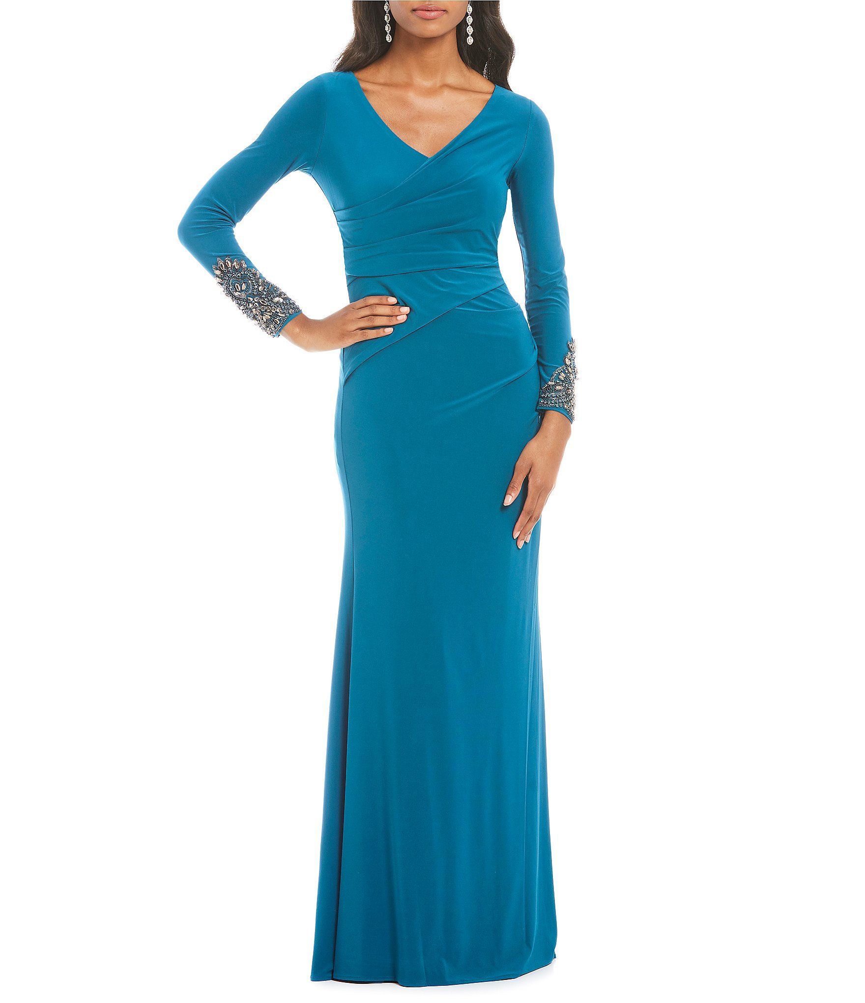 2f46e27afe8 Shop for Adrianna Papell V-Neck Embellished Draped Jersey Gown at  Dillards.com. Visit Dillards.com to find clothing