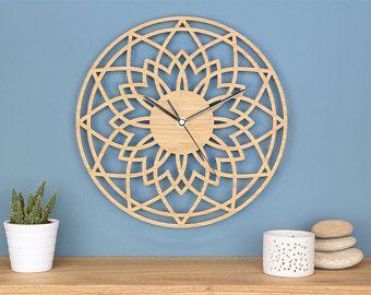 Sterren Wandklok, houten Wandklok, geometrische klok, moderne ...