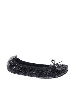 Black Sparkle Fold Up Ballet Flats