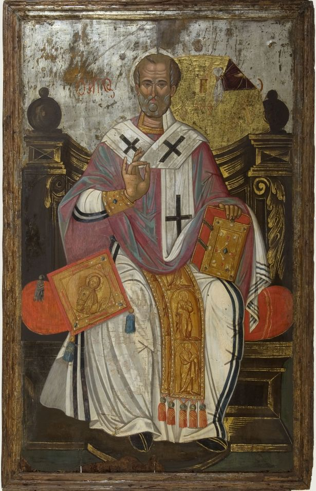 St. Nicholas. Second half of the 17th century. The figure of the Saint has been recently revealed under a painting layer depicting St. Spyridon. From Messina. Athens, Byzantine & Christian Museum, BXM 10817. Photo: Véronique Magnes (2012)