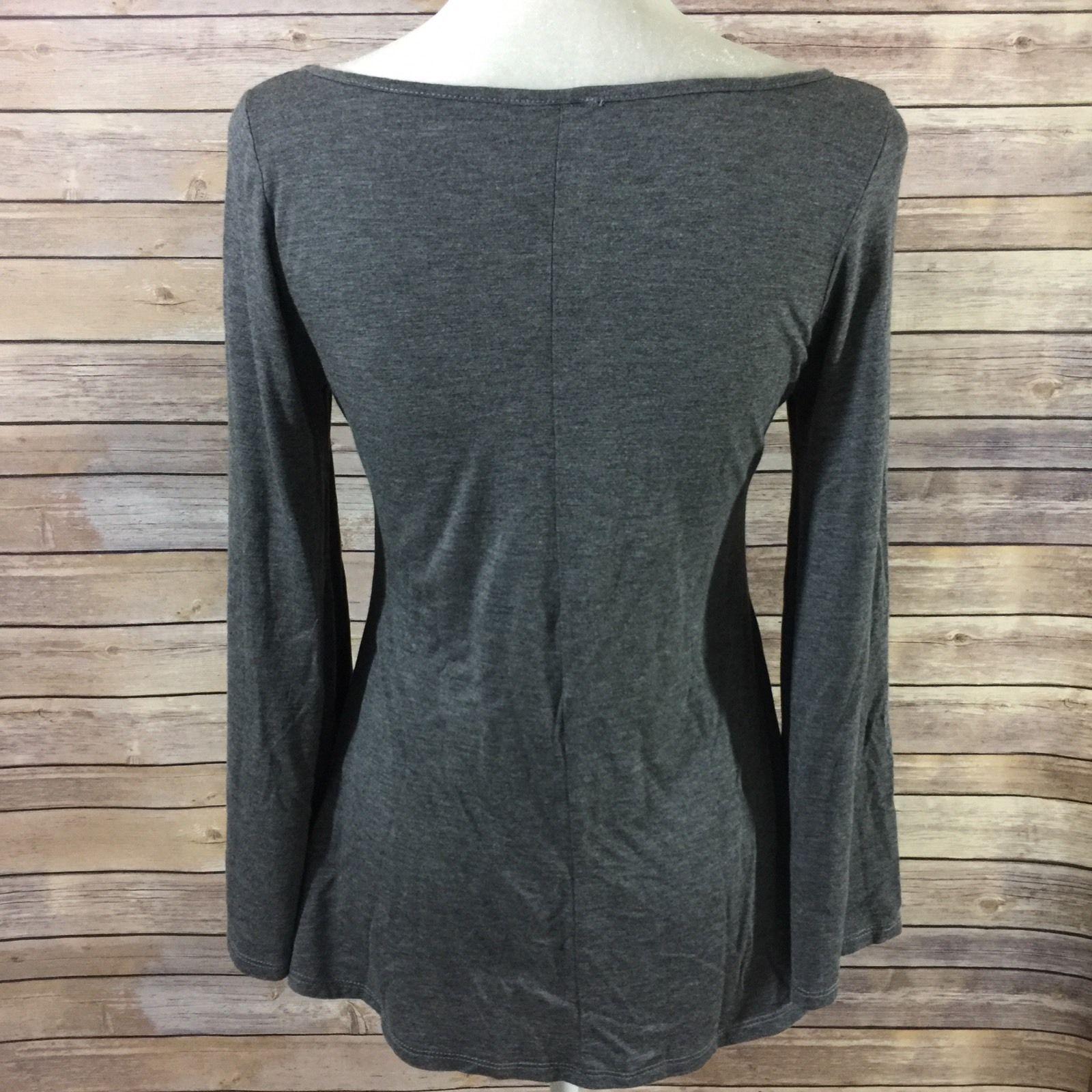Heshe womenus small knit top gray bell long sleeve shirt fit u flare