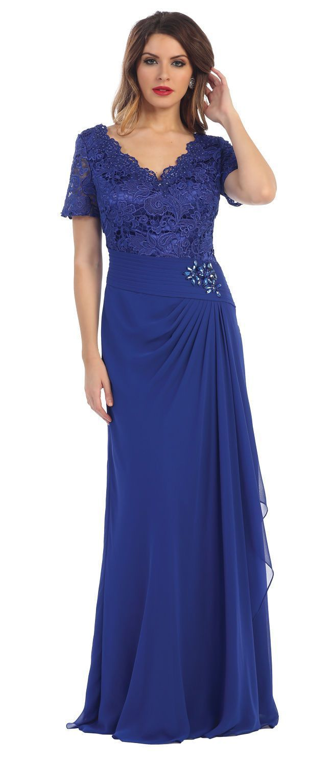 541c2918959 This elegant mother of the bride groom floor length dress comes with short  sleeve