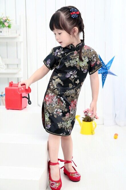daee67f42 Floral Black Baby Girls Qipao Dress Girl One-Piece Dresses Kid Chinese  chi-pao