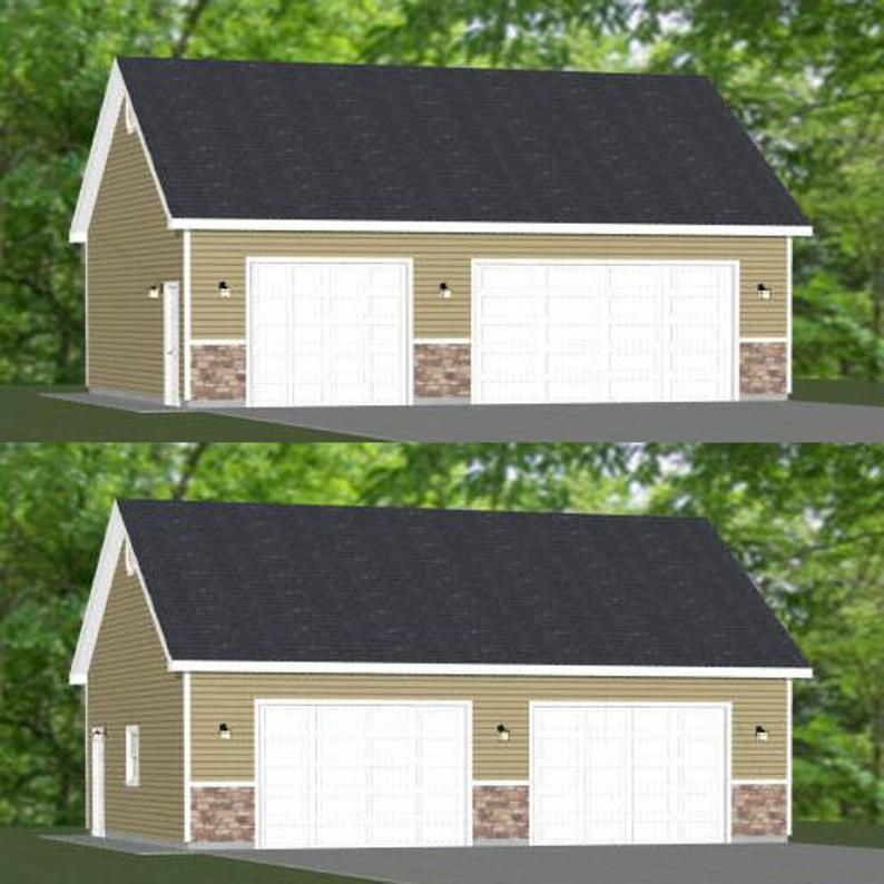 36x28 2 Car Garages 1008 Sq Ft 10ft Walls Pdf Floor Etsy In 2020 Car Garage Garage Plans Detached Garage Designs