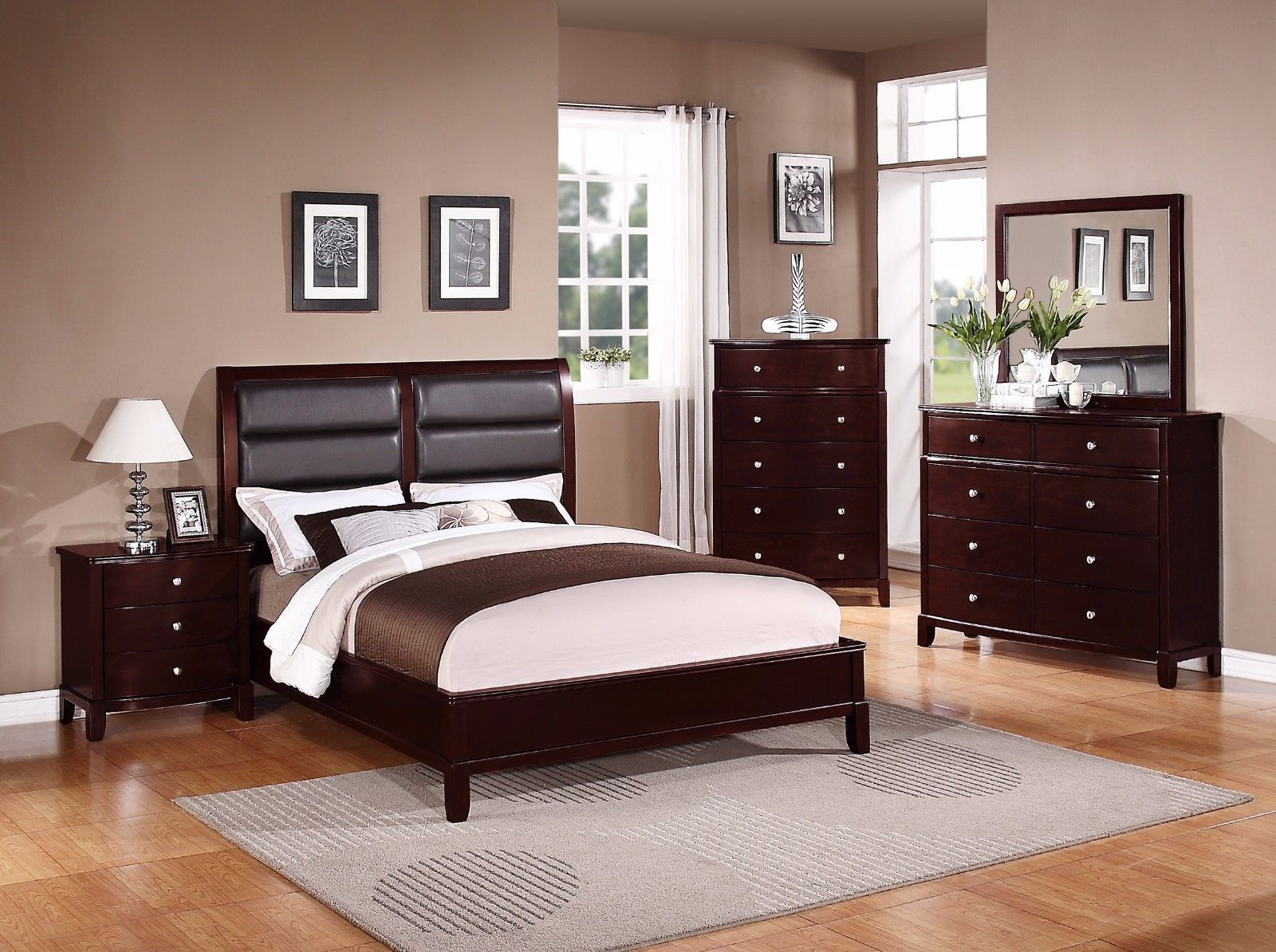 Beautiful Boxed Style 4pc Set Cherry Wood Finish Est King Bed ...