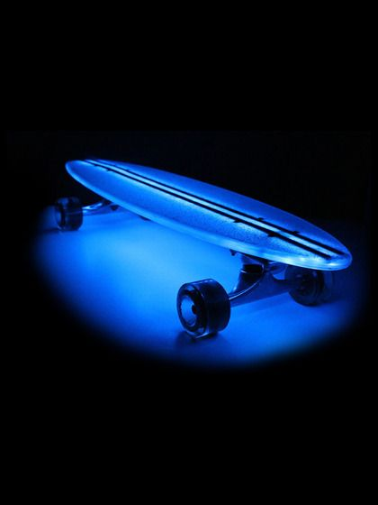 A skateboard that lights up in blue! What a great way to travel! #HTCOneBlue
