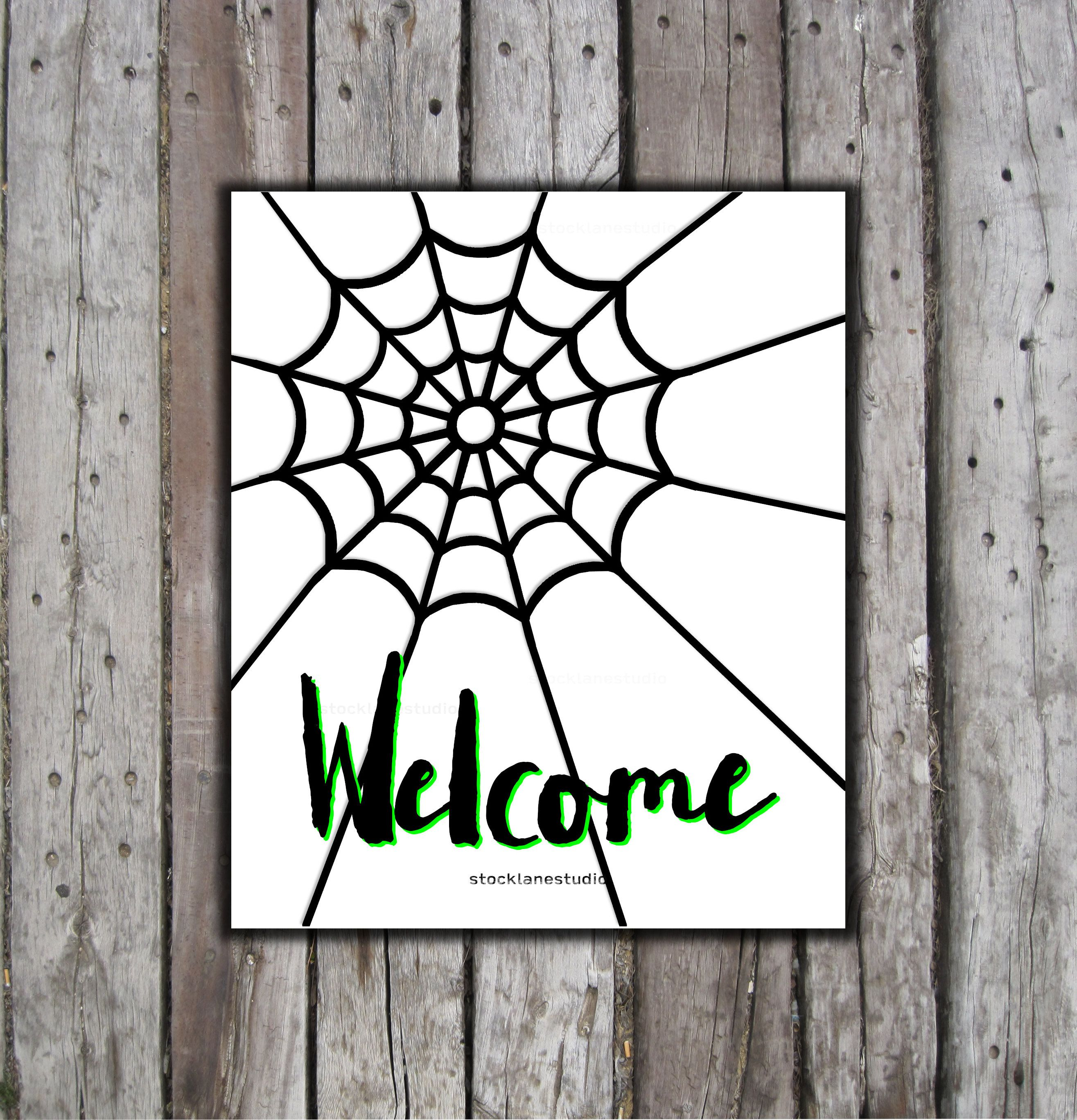 Printable Halloween Sign Welcome Black White Spider Web Classroom Poster You Print Haunted House Pa In 2020 Halloween Signs Halloween Printables Haunted House Party