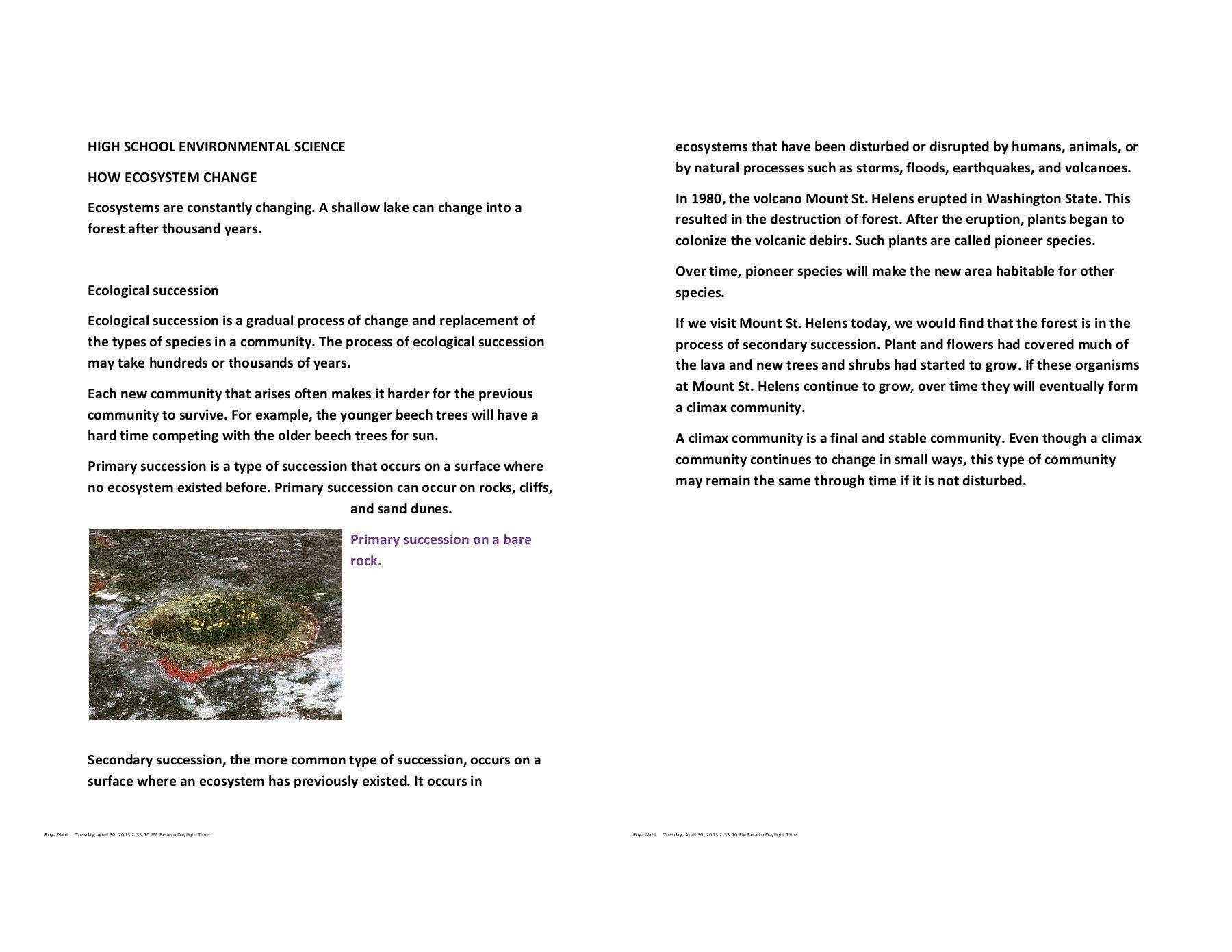 Ecological Succession Worksheet High School High School