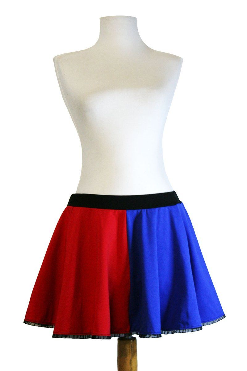 c6ad08dee This cotton red and blue Harley Quinn circle skirt is fitted at the waist  and flared at the hem. It is available in regular and plus size, ...