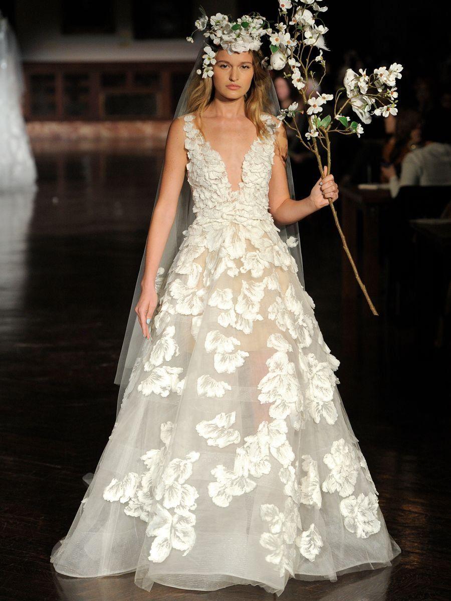 d9e58978e078 Reem Acra Spring 2019 sheer wedding dress with floral appliqués