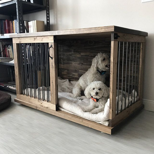 Special Walnut Custom Dog Kennel Crate Furniture Sliding Door
