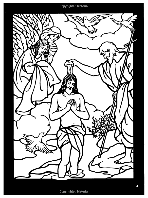 Bible Story Coloring Book Pages Free For Books Amazon The Life Of Jesus Stained Glass Dover