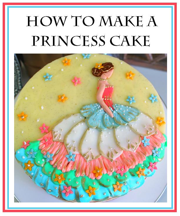 How to decorate a princess cake, elegant princess design. Princess cake. Pretty cake.  Kids cakes. pink princess cake