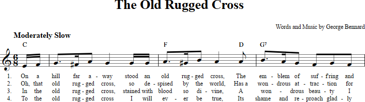 The Old Rugged Cross Sheet Music With Chords And Lyrics For B Flat
