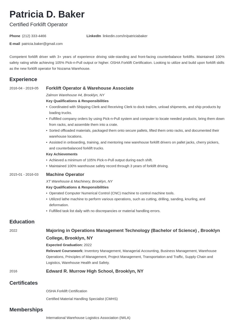 Forklift Operator Resume Resume examples, Job resume