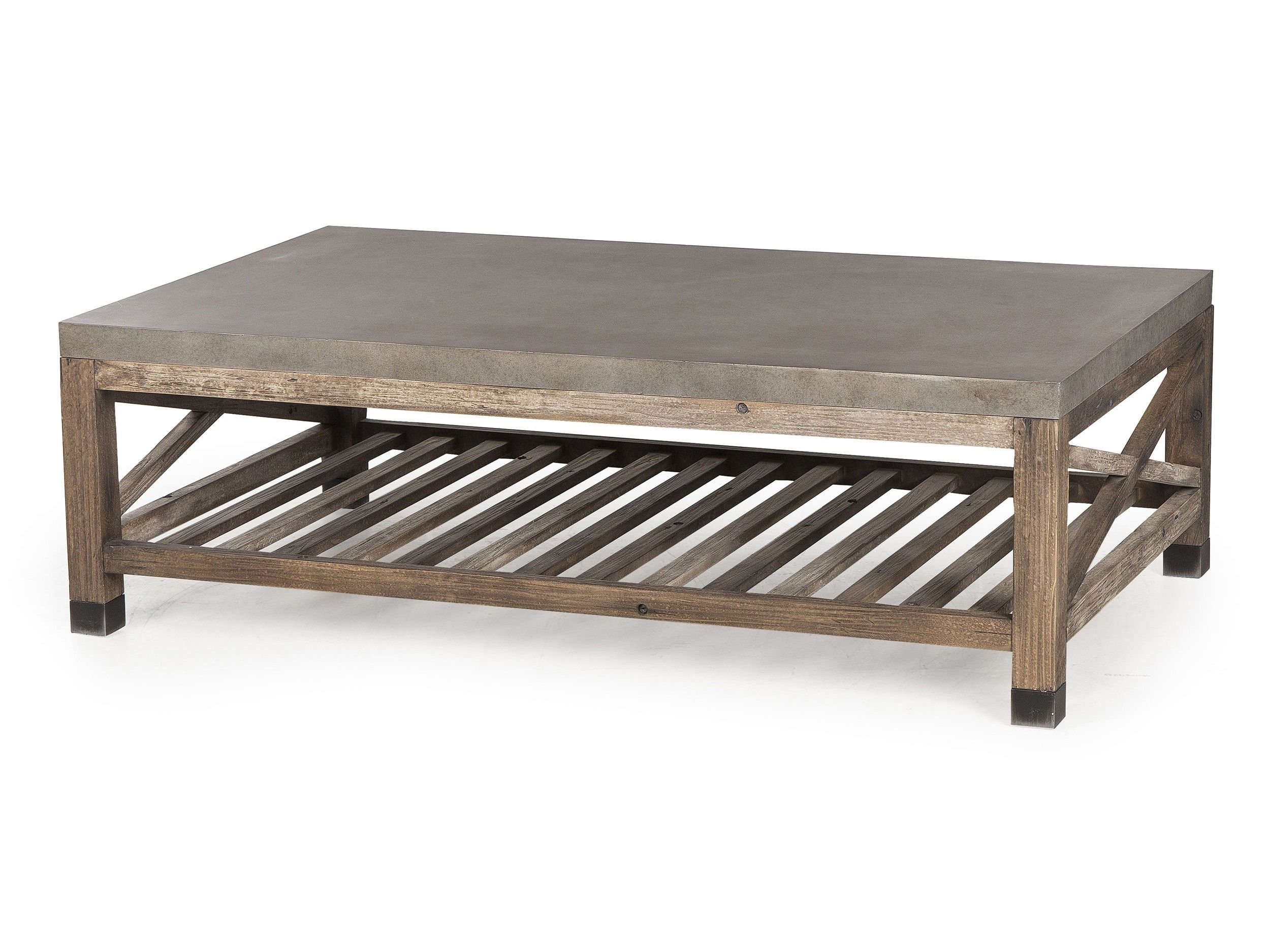 Andrew Martin s weathered wood cocktail table with cement board