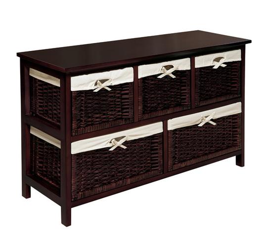 Wicker Storage Chest Baskets Organizer Furniture Wood Cabinet